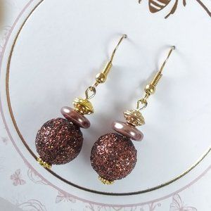 Sparkly Brown & Pearl Gold Earrings
